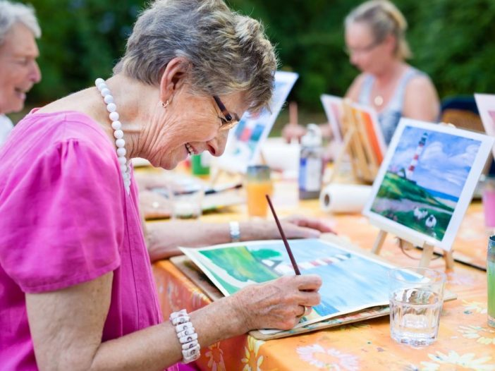 Retired Lady taking Painting Class