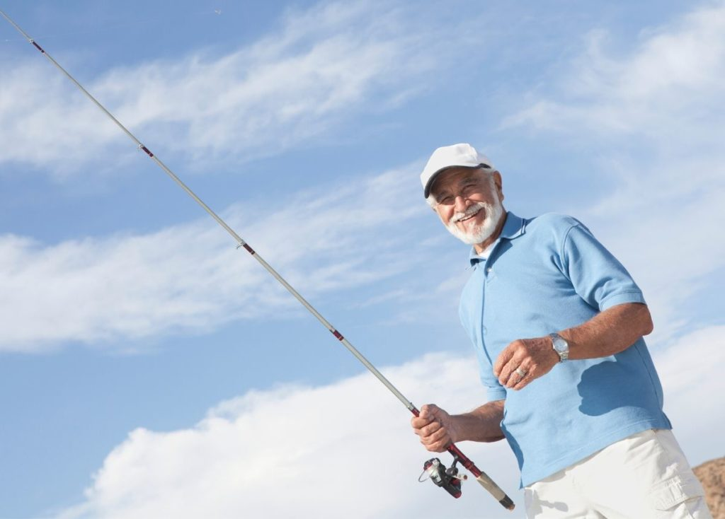 Senior man fishing