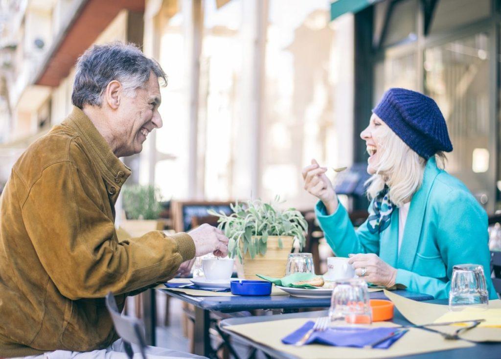 Senior citizens having dinner