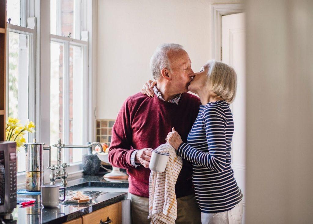 senior citizens kissing