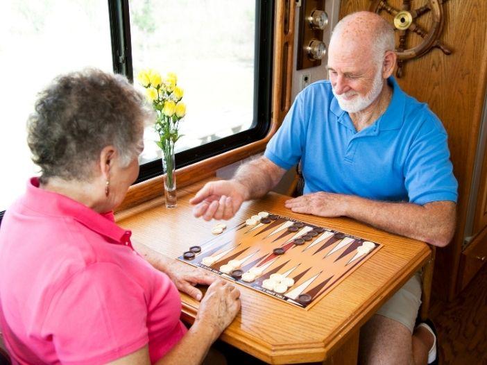 seniors playing board games